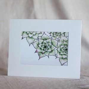 """""""Hens and Chicks"""" 5x7 Artwork Print with Mat"""